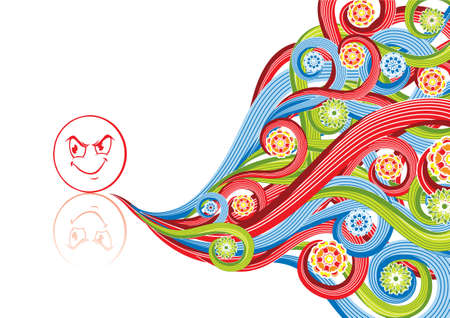 Smiley angry in abstract collage. Format A4. Vector illustration. Isolated groups and layers. Global colors.   Illustration
