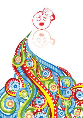 weariness: Smiley cansancio en collage abstracto. Formato A4. Ilustraci�n vectorial. Grupos aislados y capas. Mundial de colores.
