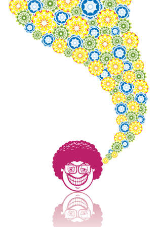 Smiley disco in abstract collage. Format A4. Vector illustration. Isolated groups and layers. Global colors.