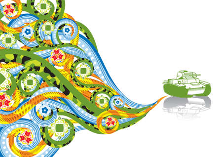 Military tank in abstract collage. Format A4. Vector illustration. Isolated groups and layers. Global colors.   Vector