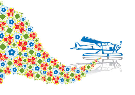 Military plane in abstract collage. Format A4. Vector illustration. Isolated groups and layers. Global colors.   Vector