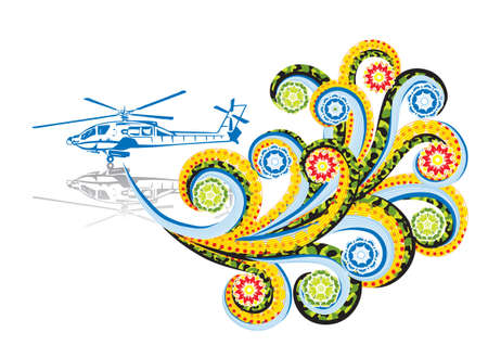 Military helicopter in abstract collage. Format A4. Vector illustration. Isolated groups and layers. Global colors.