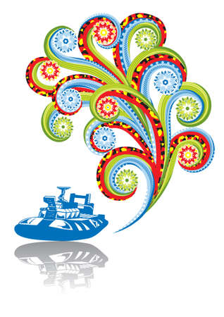 Military boat in abstract collage. Format A4. Vector illustration. Isolated groups and layers. Global colors.   Vector