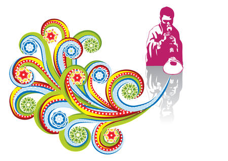red indian: Asian musician in abstract collage. Format A4. Vector illustration. Isolated groups and layers. Global colors.