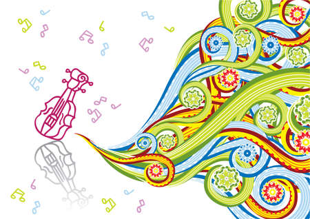 Violin in abstract collage. Format A4. Vector illustration. Isolated groups and layers. Global colors.