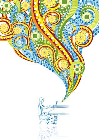 pianista: Pianista en un collage abstracto. Formato A4. Ilustraci�n del vector. Grupos aislados y capas. Colores Mundial. Vectores