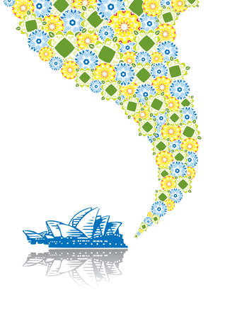 case colorate: Opera di Sydney in collage astratto. Formato A4. Vector illustration. Isolati gruppi e strati. Global colori.