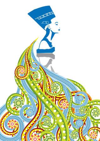 Cara de la mujer egipcia en el collage abstracto. Formato A4. Ilustración del vector. Grupos aislados y capas. Colores Mundial.