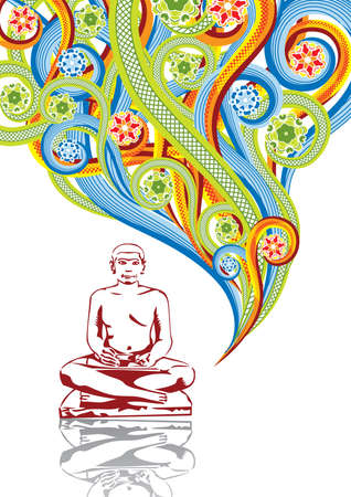 Buddha in abstract collage. Format A4. Vector illustration. Isolated groups and layers. Global colors.