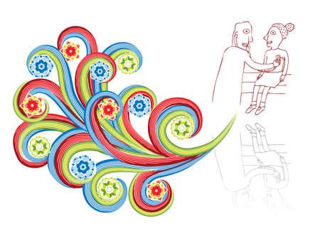patient in bed: El m�dico examina a la chica en collage abstracta.