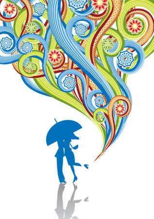 The couple kisses under an umbrella in abstract collage. Format A4. Vector illustration. Isolated groups and layers. Global colors.   Illustration