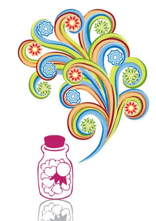 Glass jar with hearts in abstract collage. Format A4. Vector illustration. Isolated groups and layers. Global colors.   Illustration