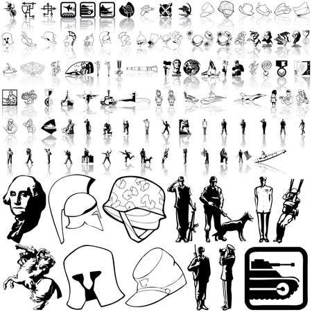 Army set. Part 4. Isolated groups and layers.   Vector