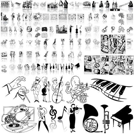 Music set of black sketch. Part 1. Isolated groups and layers. Stock Vector - 5428588