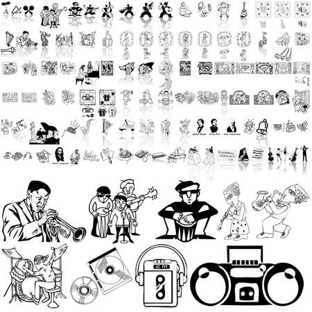 Music set of black sketch. Part 2. Isolated groups and layers.   Illustration