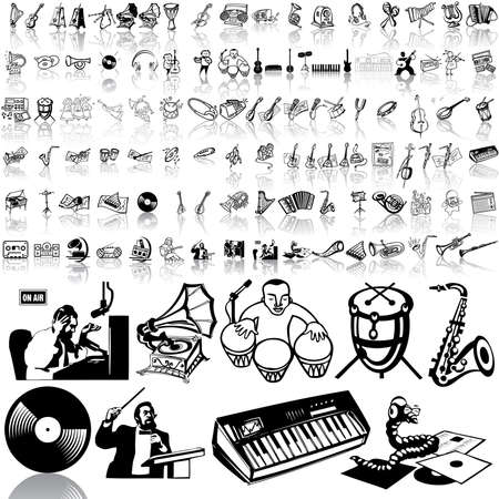 Music set of black sketch. Part 3. Isolated groups and layers. Stock Vector - 5428585