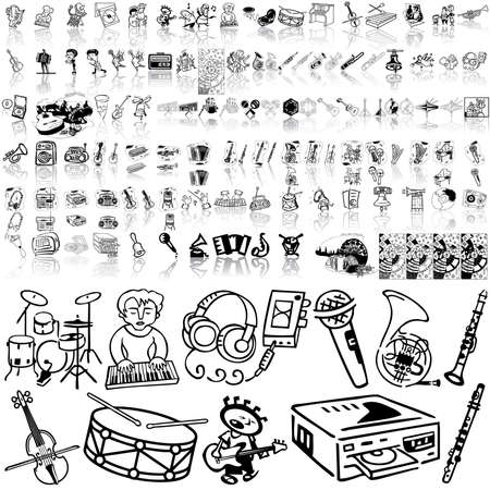 Music set of black sketch. Part 5. Isolated groups and layers.   Illustration