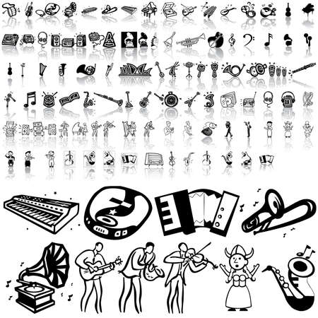 Music set of black sketch. Part 8. Isolated groups and layers.   Stock Vector - 5428578