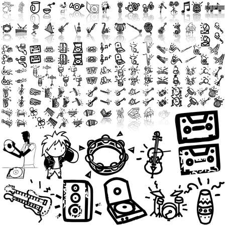 Music set of black sketch. Part 9. Isolated groups and layers.   Illustration