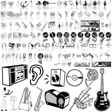 Music set of black sketch. Part 10. Isolated groups and layers.   Stock Vector - 5428582