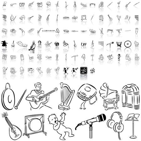 Music set of black sketch. Part 11. Isolated groups and layers. Stock Vector - 5428580
