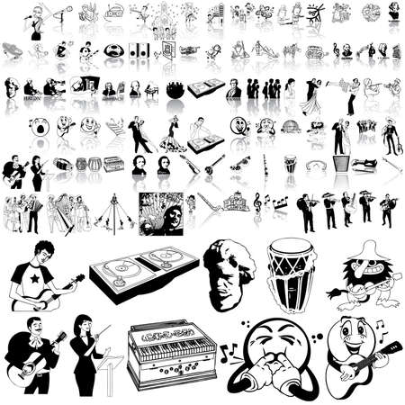 Music set of black sketch. Part 13. Isolated groups and layers. Stock Vector - 5428590