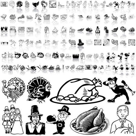 Thanksgiving set of black sketch. Part 1. Isolated groups and layers. Stock Vector - 5466440
