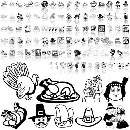 Thanksgiving set of black sketch. Part 3. Isolated groups and layers.   Vector