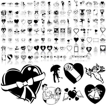 enamorados caricatura: Valentinday conjunto de esbozo negro. Parte 1. Capas y grupos aislados.     Vectores