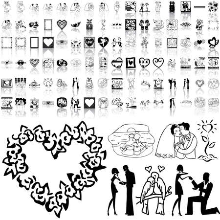 romanticist: Valentinday set of black sketch. Part 2. Isolated groups and layers.