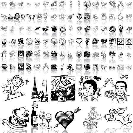 Valentinday set of black sketch. Part 4. Isolated groups and layers.