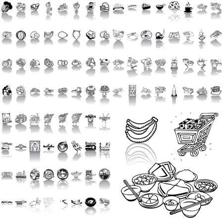 ebullition: Aliments s�rie de croquis noir. Partie 1. Des groupes isol�s et des couches.  Illustration