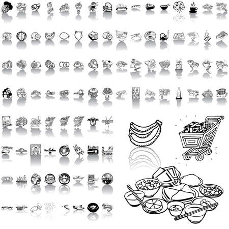 soup and salad: Food set of black sketch. Part 1. Isolated groups and layers.