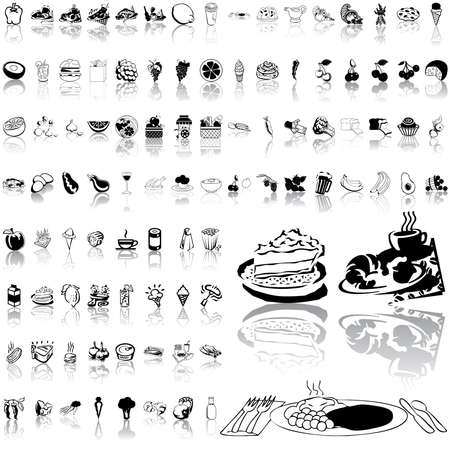 fried shrimp: Food set of black sketch. Part 3. Isolated groups and layers.   Illustration
