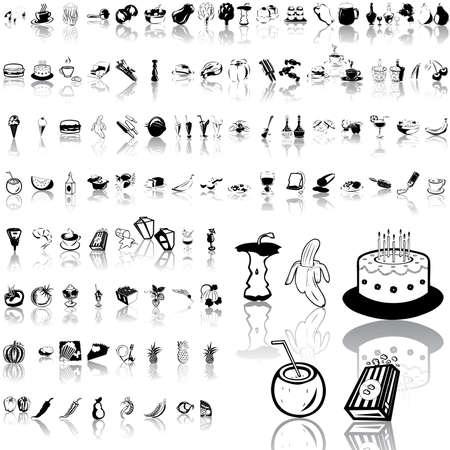 Essen set schwarz Sketch. Teil 4. Isolierten Gruppen und Ebenen.  Standard-Bild - 5580585