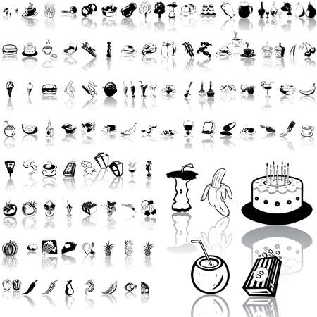 Food set of black sketch. Part 4. Isolated groups and layers.   Vector