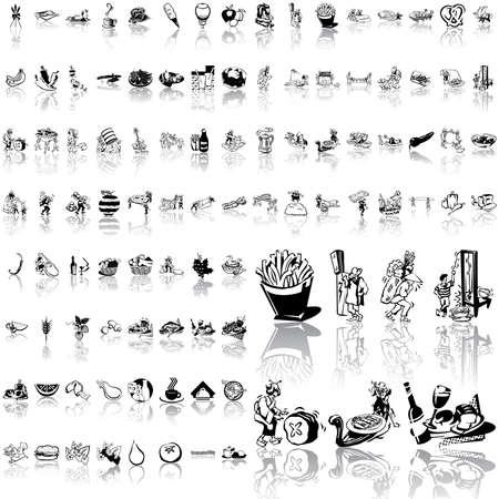 Alimentación conjunto de dibujo negro. Parte 5. Grupos aislados y capas. Foto de archivo - 5580588