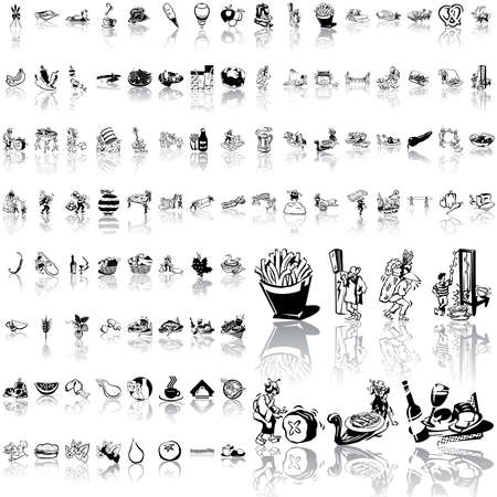 Food set of black sketch. Part 5. Isolated groups and layers.   Illustration