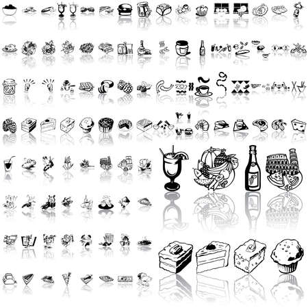 Food set of black sketch. Part 6. Isolated groups and layers.   Vector