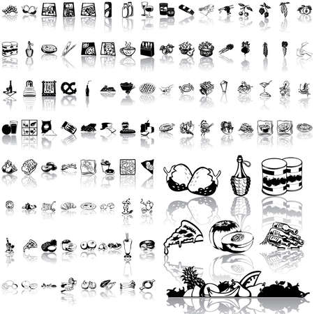 Food set of black sketch. Part 7. Isolated groups and layers.