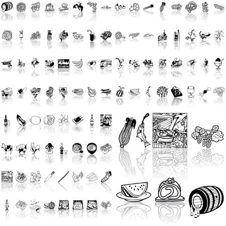 Food set of black sketch. Part 9. Isolated groups and layers.