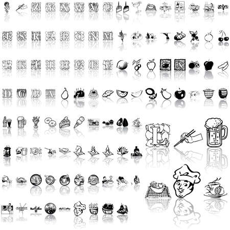 Food set of black sketch. Part 10. Isolated groups and layers.