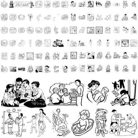 Familia conjunto de esbozo negro. Parte 1. Capas y grupos aislados.   Ilustración de vector