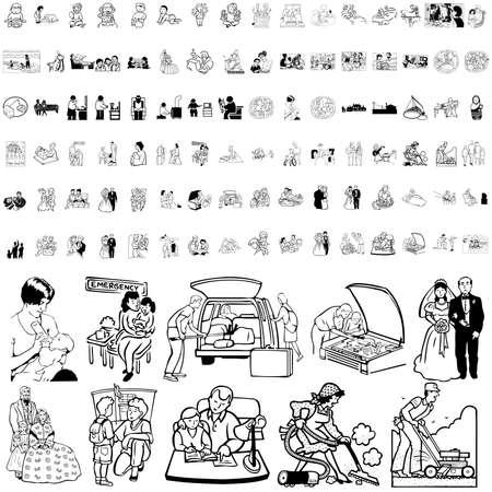 mujer acostada en cama: Familia conjunto de esbozo negro. Parte 2. Capas y grupos aislados.   Vectores
