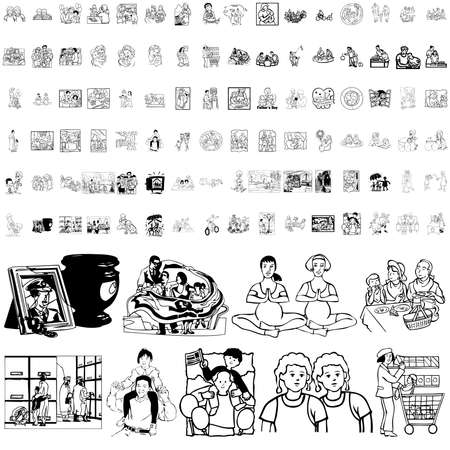 warmly: Family set of black sketch. Part 3. Isolated groups and layers.
