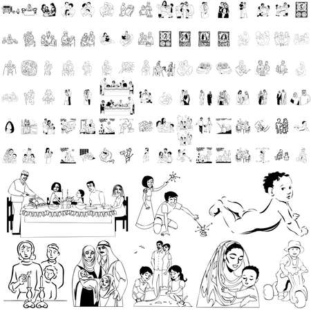 im bett liegen: Familie set schwarz Sketch. Teil 6. Isolierten Gruppen und Ebenen.