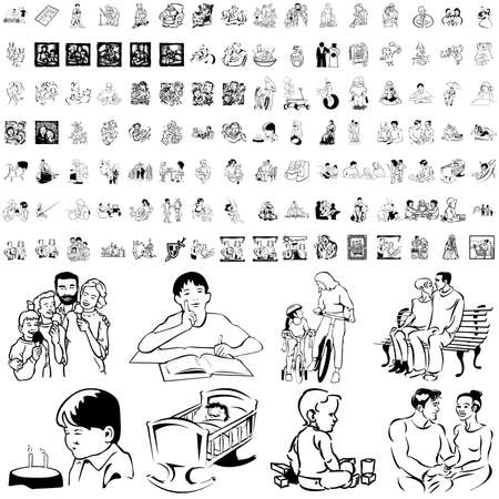 Family set of black sketch. Part 7. Isolated groups and layers.   Vector