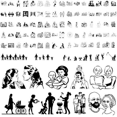 Family set of black sketch. Part 8. Isolated groups and layers.   Vector
