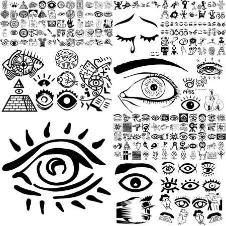 frau nach oben schauen: Augen set schwarz Sketch. Teil 200. Isolierten Gruppen und Ebenen.