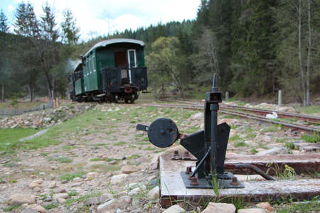 narrow gauge railways: Points and railway carriage from a Romanian little railway Stock Photo